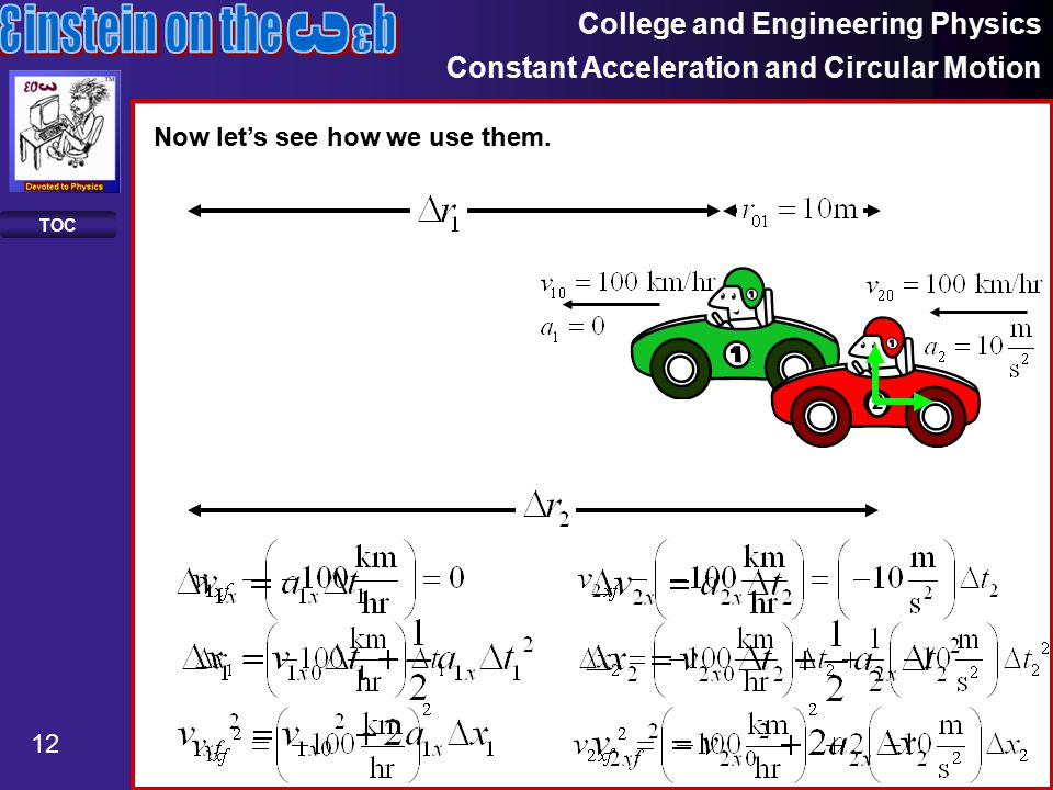 College and Engineering Physics Constant Acceleration and Circular Motion 12 TOC Now let's see how we use them.
