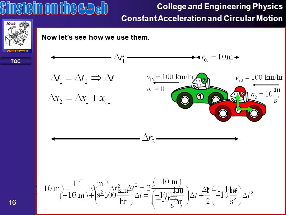 College and Engineering Physics Constant Acceleration and Circular Motion 16 TOC Now let's see how we use them.