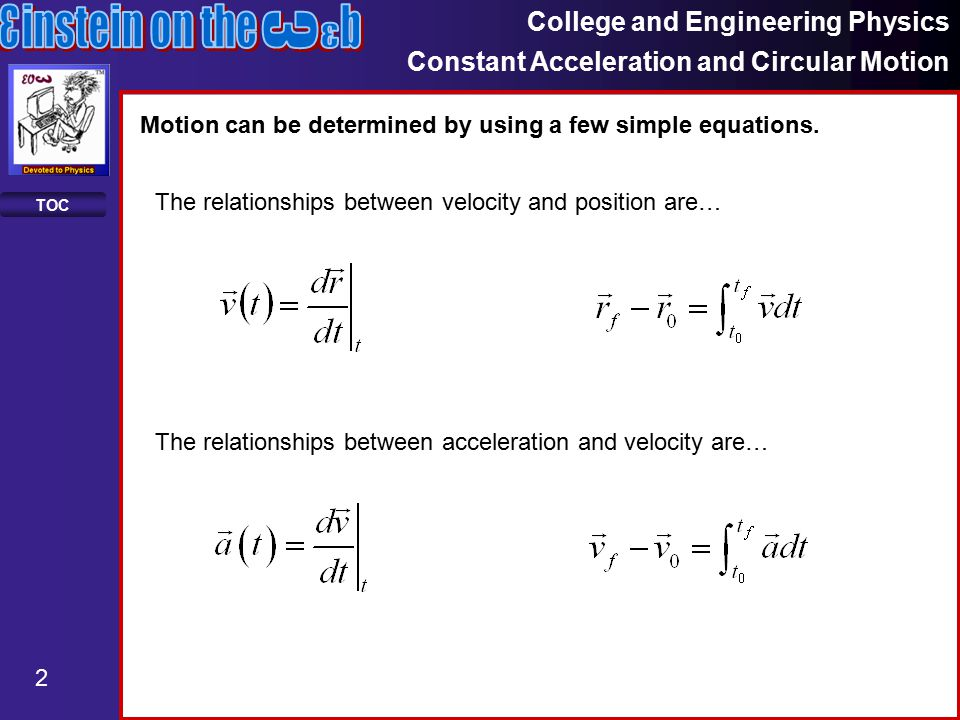 College and Engineering Physics Constant Acceleration and Circular Motion 3 TOC Here are some examples of how the equations are used.