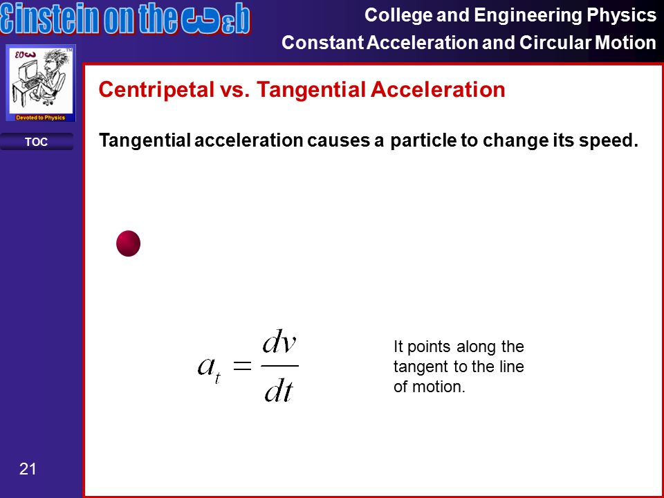 College and Engineering Physics Constant Acceleration and Circular Motion 21 TOC Centripetal vs.