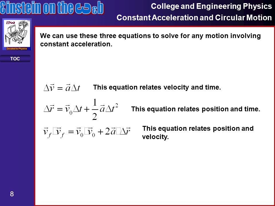 College and Engineering Physics Constant Acceleration and Circular Motion 29 TOC Equations In free fall, the vertical position, velocity and acceleration are related by the equations the horizontal position, velocity and acceleration are related by the equation Note that we can write the components of the initial velocity as