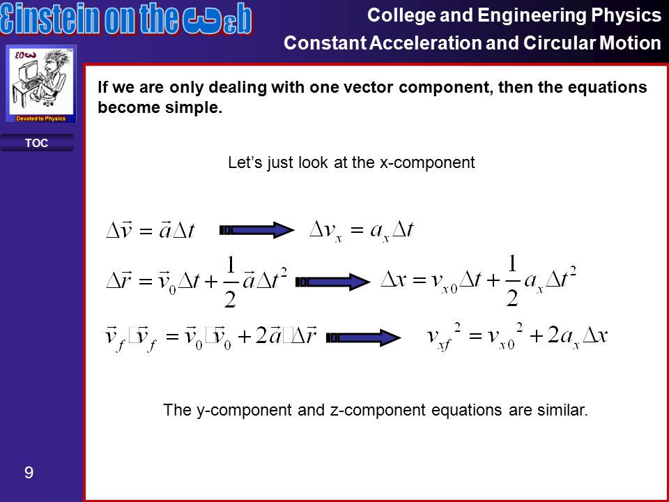 College and Engineering Physics Constant Acceleration and Circular Motion 9 TOC If we are only dealing with one vector component, then the equations become simple.
