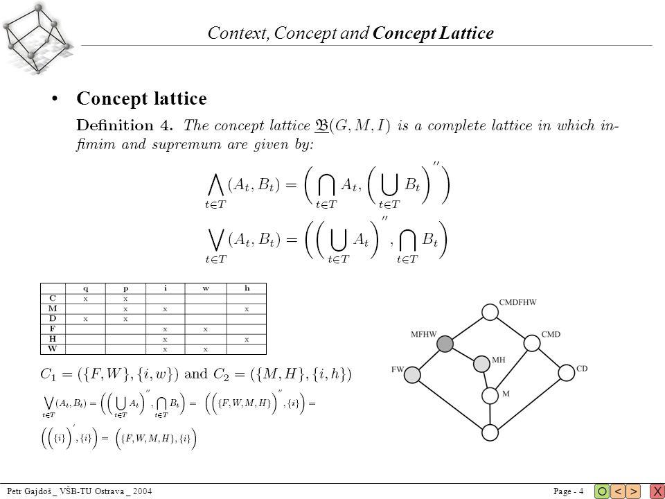 Petr Gajdoš _ VŠB-TU Ostrava _ 2004Page - 4 Context, Concept and Concept Lattice Concept lattice