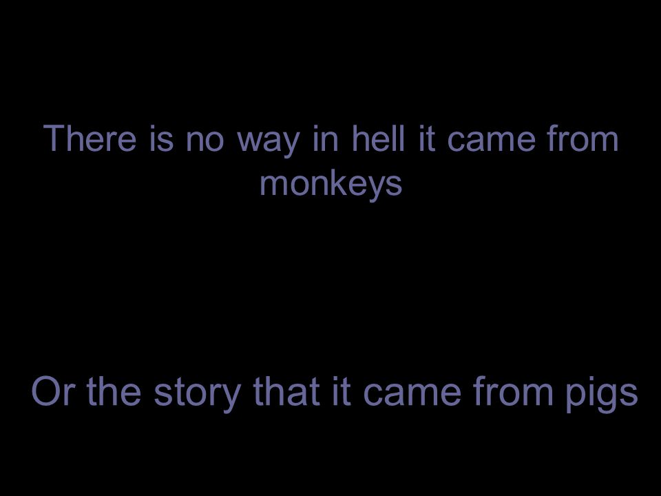 There is no way in hell it came from monkeys Or the story that it came from pigs