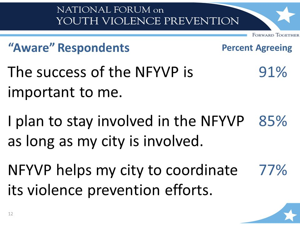 12 Percent Agreeing The success of the NFYVP is important to me.