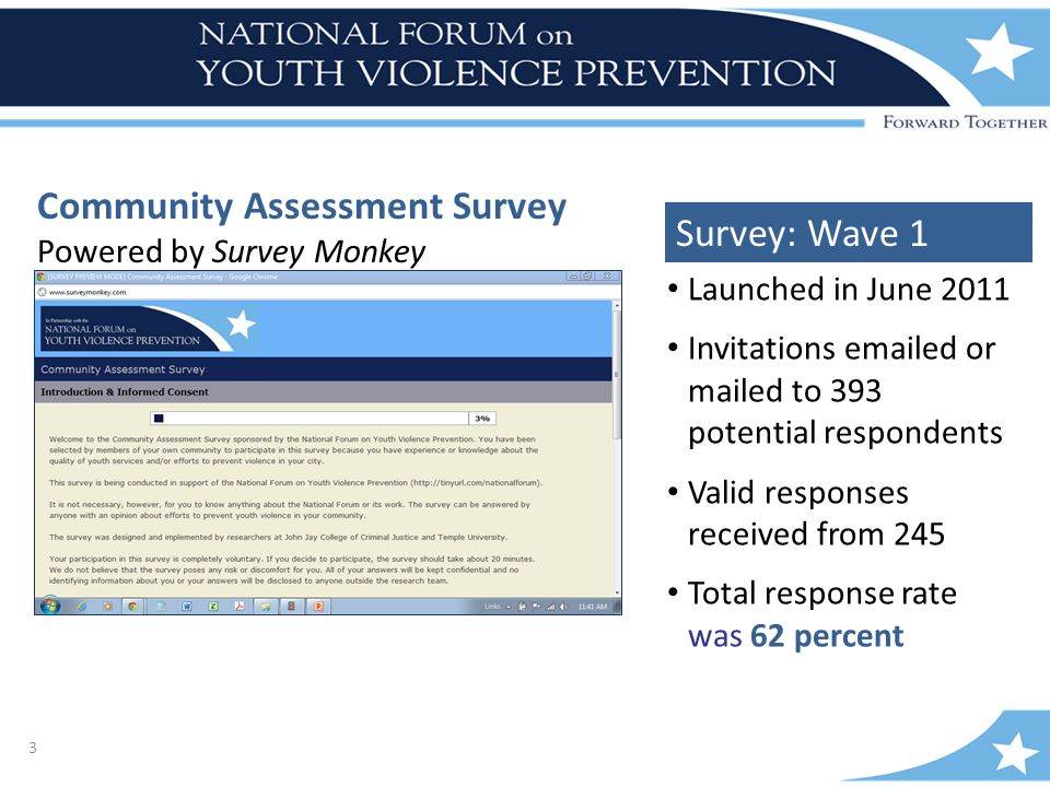 3 Community Assessment Survey Powered by Survey Monkey Launched in June 2011 Invitations emailed or mailed to 393 potential respondents Valid responses received from 245 Total response rate was 62 percent Survey: Wave 1