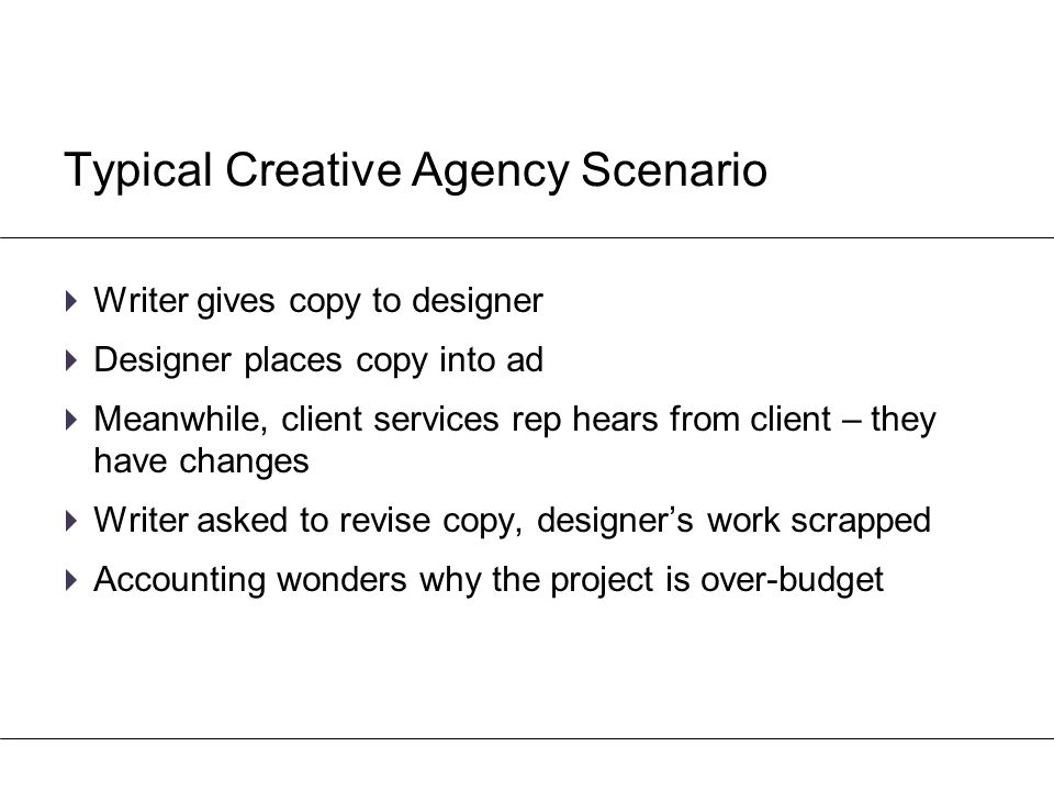 Typical Creative Agency Scenario  Writer gives copy to designer  Designer places copy into ad  Meanwhile, client services rep hears from client – t