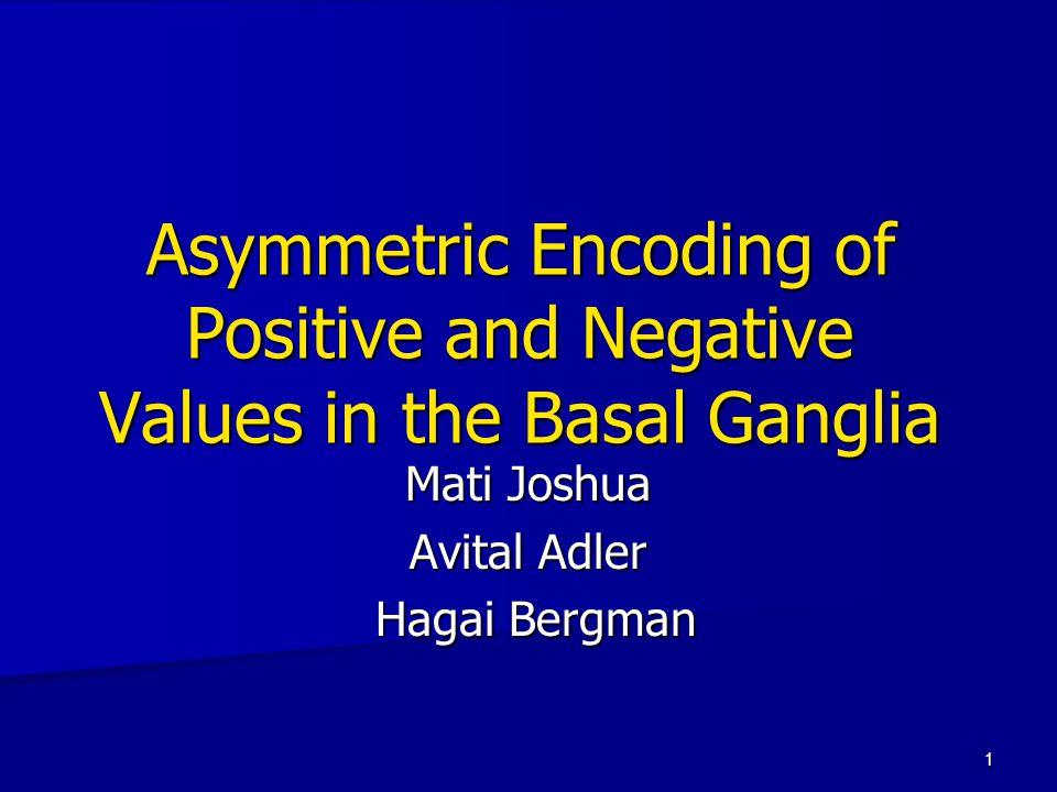 1 Asymmetric Encoding of Positive and Negative Values in the Basal Ganglia Mati Joshua Avital Adler Hagai Bergman Hagai Bergman