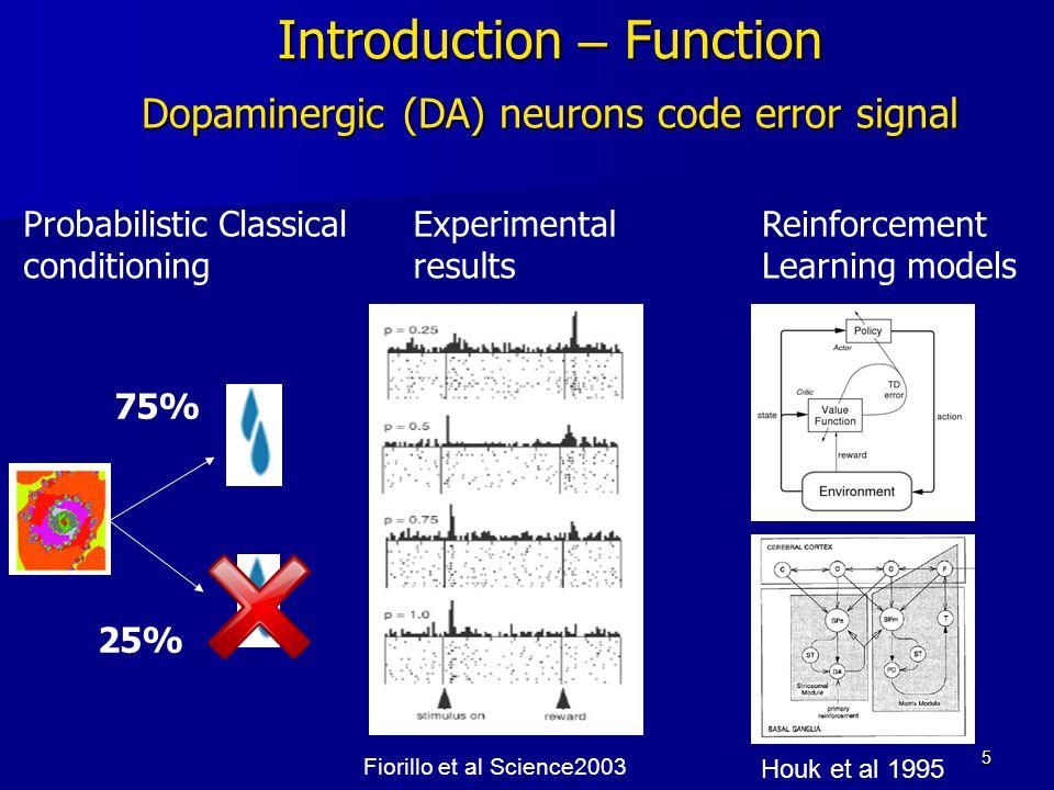 5 Introduction – Function Fiorillo et al Science2003 Houk et al 1995 Probabilistic Classical conditioning 75% 25% Reinforcement Learning models Experimental results Dopaminergic (DA) neurons code error signal
