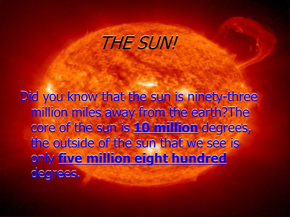THE SUN! Did you know that the sun is ninety-three million miles away from the earth?The core of the sun is 10 million degrees, the outside of the sun