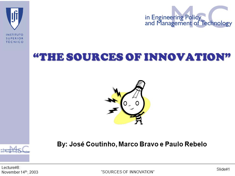 Lecture#8: November 14 th, 2003 SOURCES OF INNOVATION Slide#32 5.