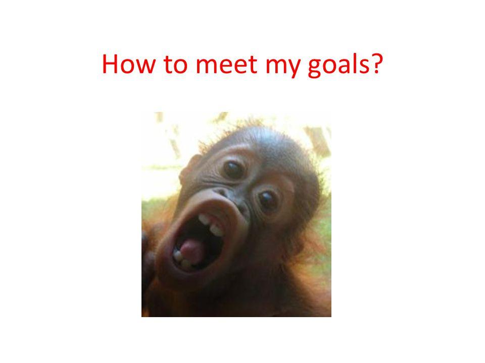 How to meet my goals