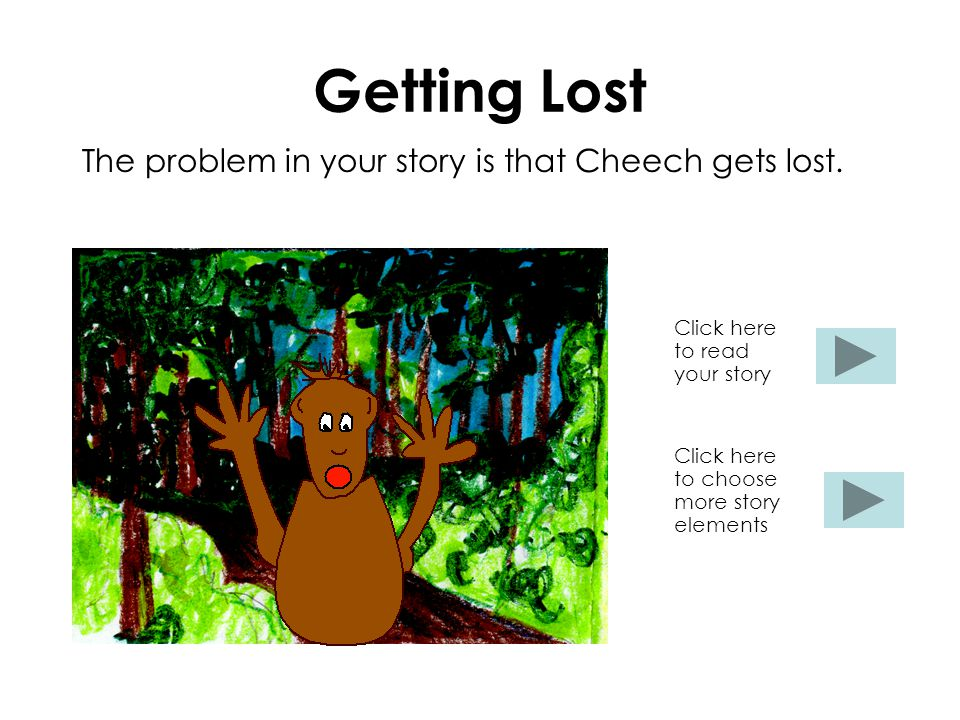Getting Lost The problem in your story is that Cheech gets lost. Click here to read your story Click here to choose more story elements