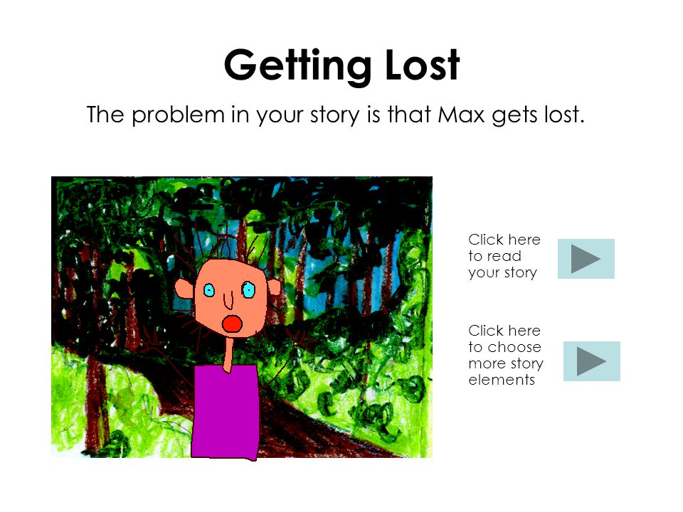 Getting Lost The problem in your story is that Max gets lost. Click here to read your story Click here to choose more story elements