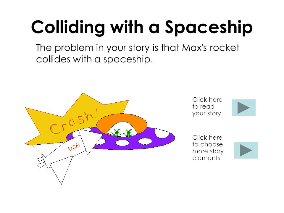 Colliding with a Spaceship The problem in your story is that Max s rocket collides with a spaceship.