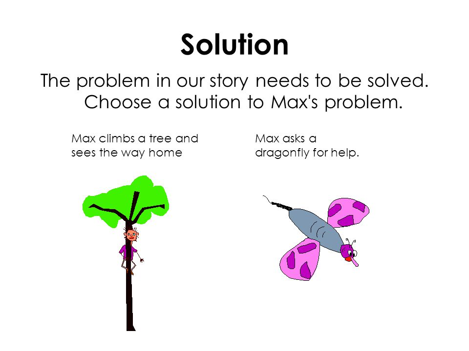 Solution The problem in our story needs to be solved. Choose a solution to Max's problem. Max climbs a tree and sees the way home Max asks a dragonfly