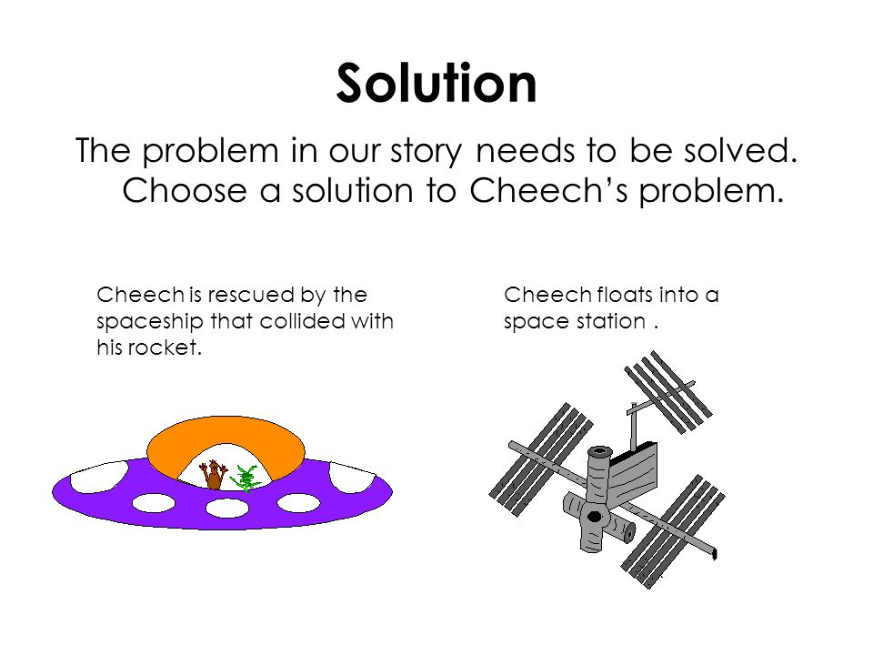 Solution The problem in our story needs to be solved. Choose a solution to Cheech's problem. Cheech is rescued by the spaceship that collided with his