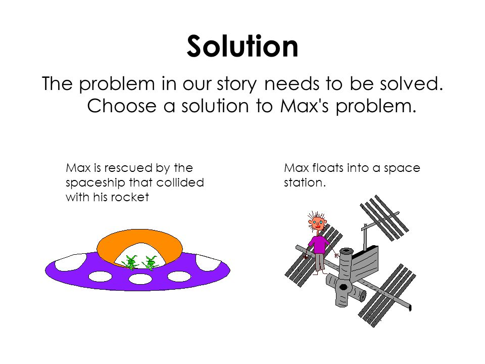 Solution The problem in our story needs to be solved. Choose a solution to Max's problem. Max is rescued by the spaceship that collided with his rocke