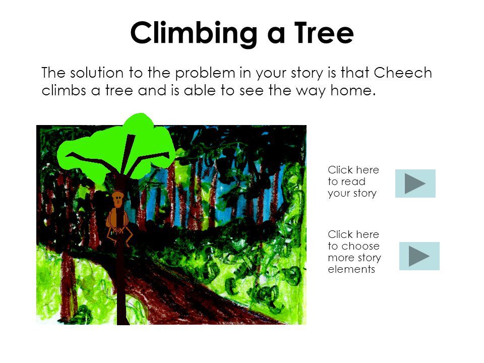 Climbing a Tree The solution to the problem in your story is that Cheech climbs a tree and is able to see the way home. Click here to read your story