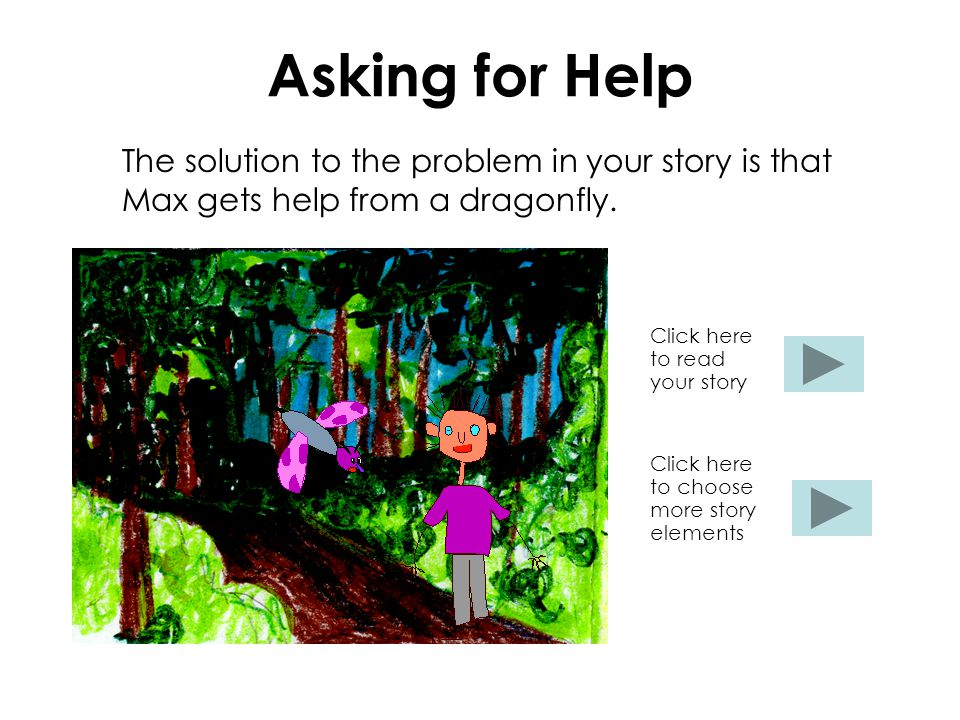 Asking for Help The solution to the problem in your story is that Max gets help from a dragonfly.