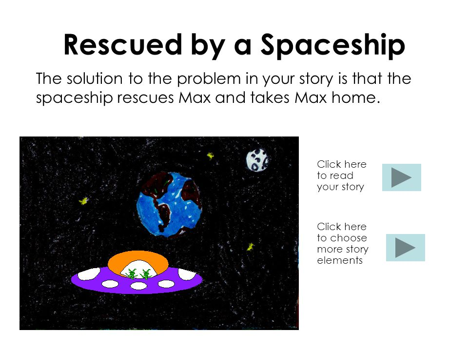 Rescued by a Spaceship The solution to the problem in your story is that the spaceship rescues Max and takes Max home.