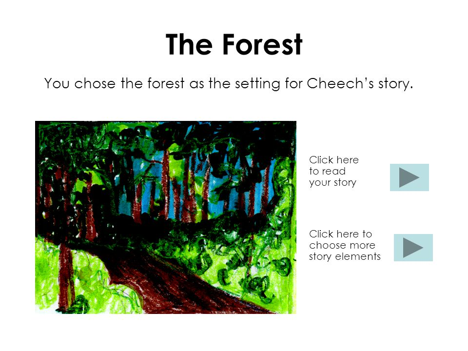 The Forest You chose the forest as the setting for Cheech's story.