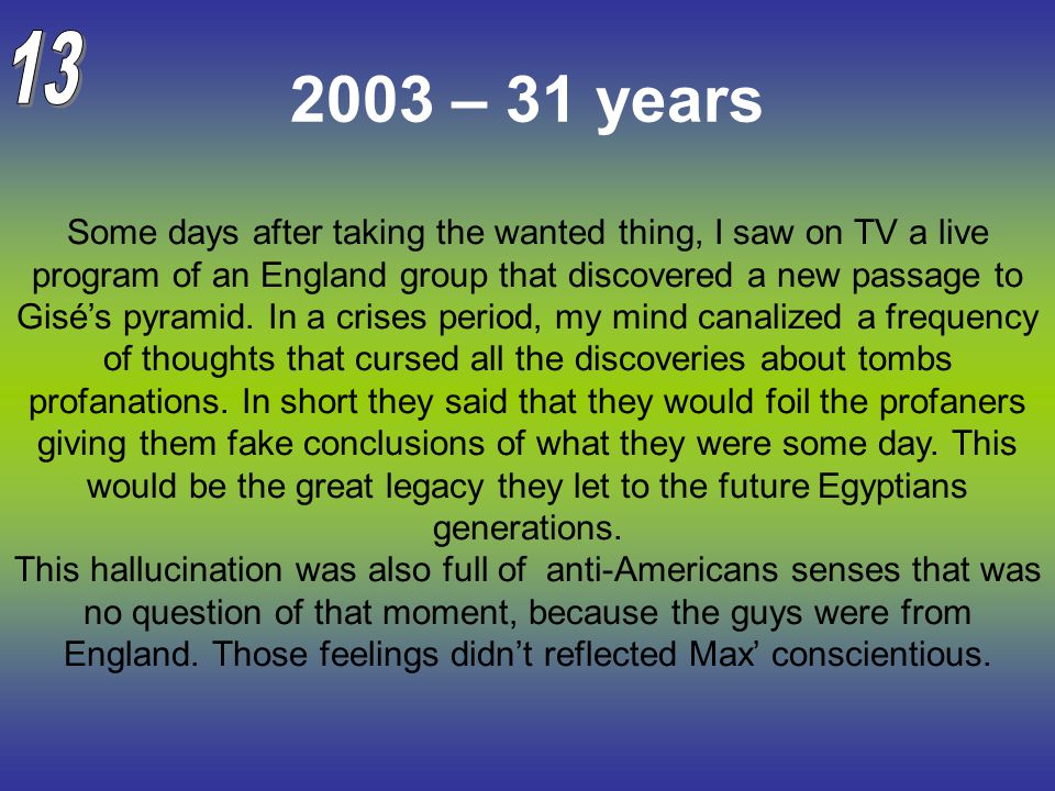 2003 – 31 years Some days after taking the wanted thing, I saw on TV a live program of an England group that discovered a new passage to Gisé's pyrami