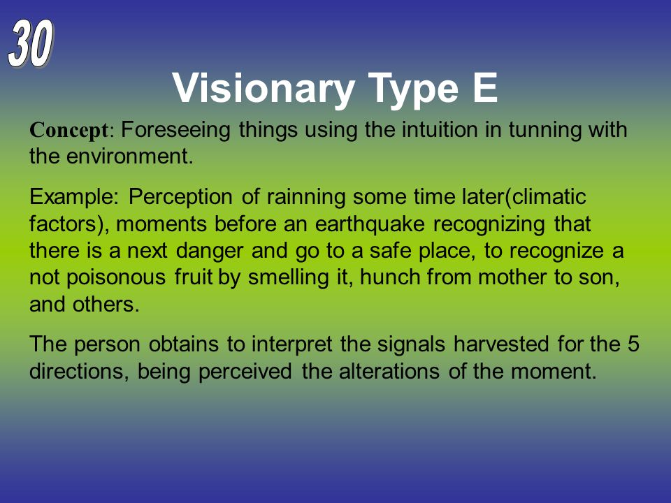Visionary Type E Concept: Foreseeing things using the intuition in tunning with the environment. Example: Perception of rainning some time later(clima