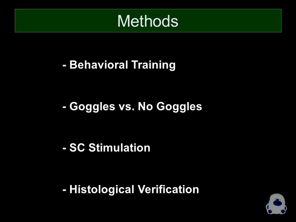 - Behavioral Training - Goggles vs. No Goggles - SC Stimulation - Histological Verification Methods