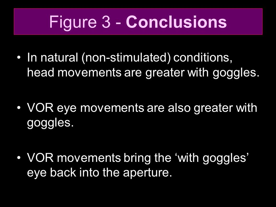 Figure 3 - Conclusions In natural (non-stimulated) conditions, head movements are greater with goggles.