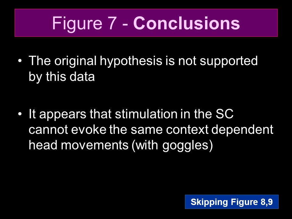 Figure 7 - Conclusions The original hypothesis is not supported by this data It appears that stimulation in the SC cannot evoke the same context depen