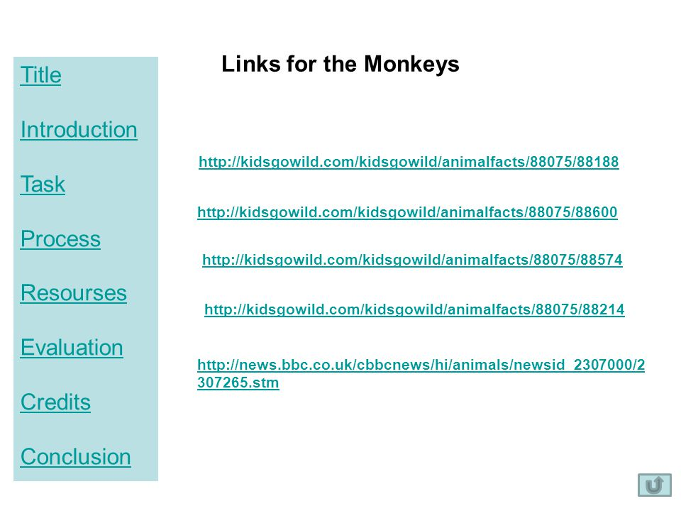 Title Introduction Task Process Resourses Evaluation Credits Conclusion Links for the Monkeys http://kidsgowild.com/kidsgowild/animalfacts/88075/88188