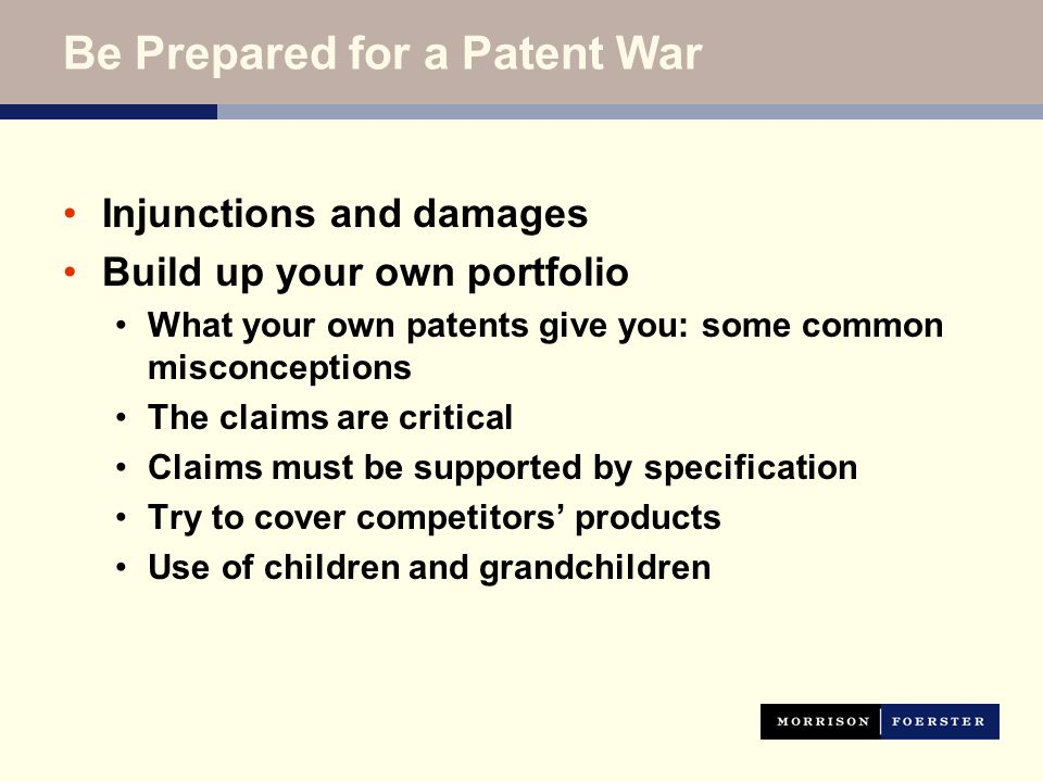 Injunctions and damages Build up your own portfolio What your own patents give you: some common misconceptions The claims are critical Claims must be