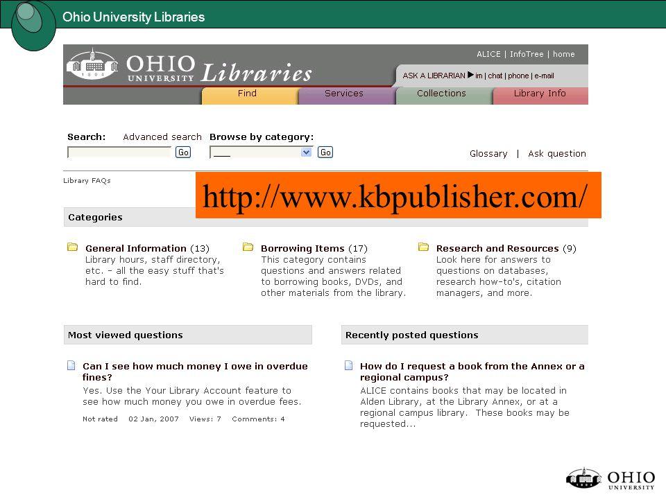 Ohio University Libraries http://www.kbpublisher.com/