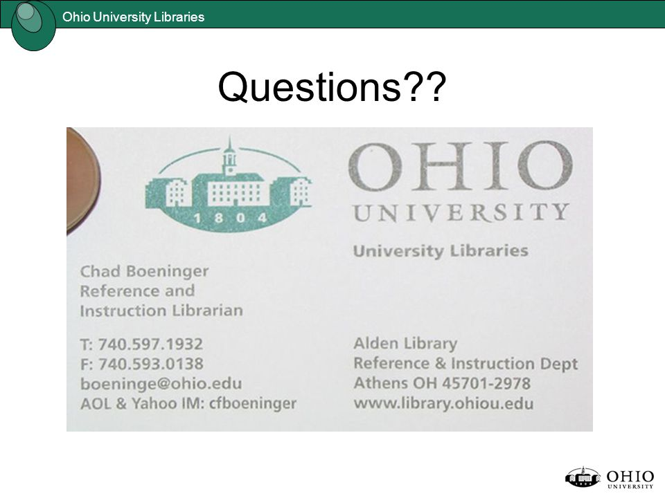 Ohio University Libraries Questions