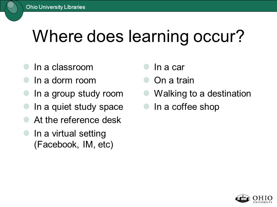 Ohio University Libraries Where does learning occur.