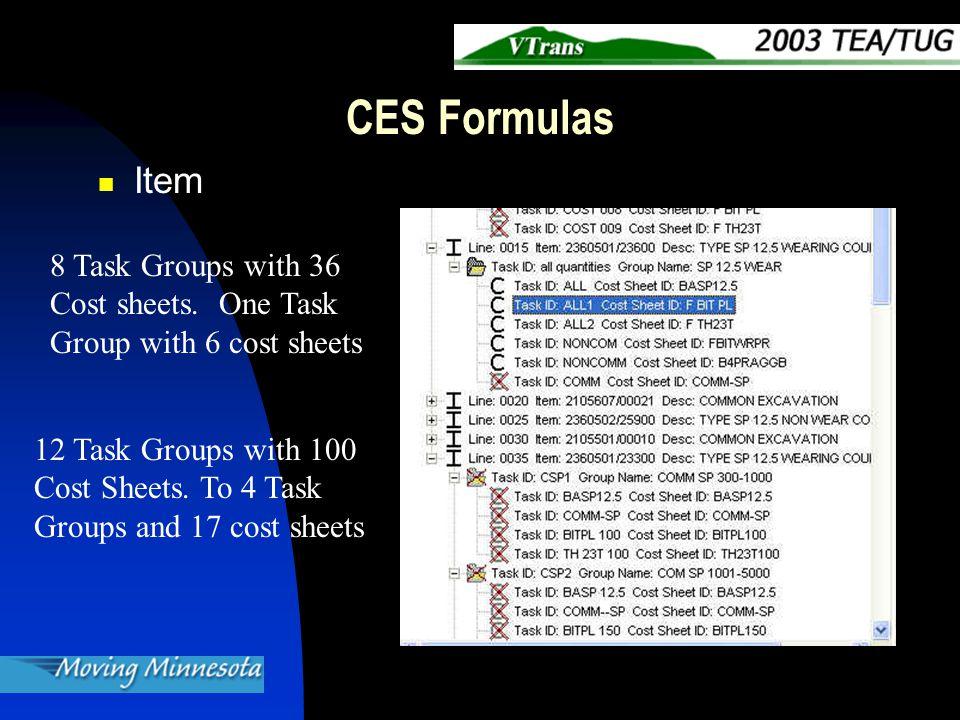 CES Formulas Consider formulas Before Creating Sheets