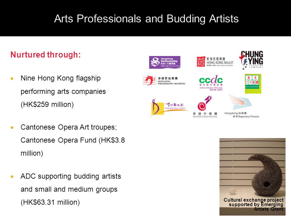Nurtured through:  Nine Hong Kong flagship performing arts companies (HK$259 million)  Cantonese Opera Art troupes; Cantonese Opera Fund (HK$3.8 million)  ADC supporting budding artists and small and medium groups (HK$63.31 million) Cultural exchange project supported by Emerging Artists Grant