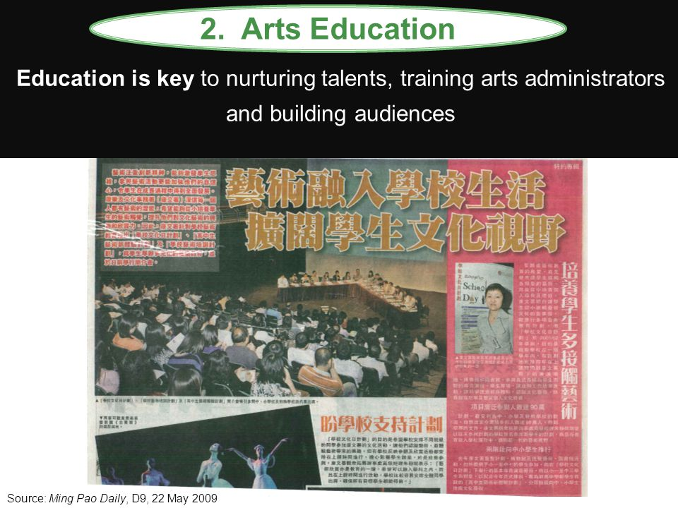 Education is key to nurturing talents, training arts administrators and building audiences 2. Arts Education Source: Ming Pao Daily, D9, 22 May 2009