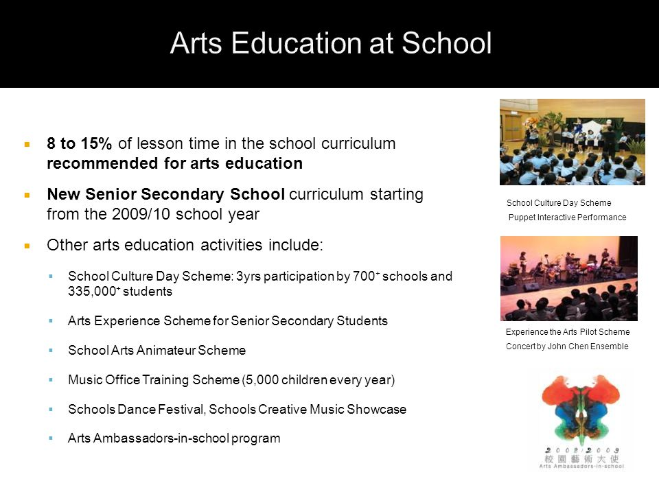  8 to 15% of lesson time in the school curriculum recommended for arts education  New Senior Secondary School curriculum starting from the 2009/10 school year  Other arts education activities include:  School Culture Day Scheme: 3yrs participation by 700 + schools and 335,000 + students  Arts Experience Scheme for Senior Secondary Students  School Arts Animateur Scheme  Music Office Training Scheme (5,000 children every year)  Schools Dance Festival, Schools Creative Music Showcase  Arts Ambassadors-in-school program School Culture Day Scheme Puppet Interactive Performance Experience the Arts Pilot Scheme Concert by John Chen Ensemble