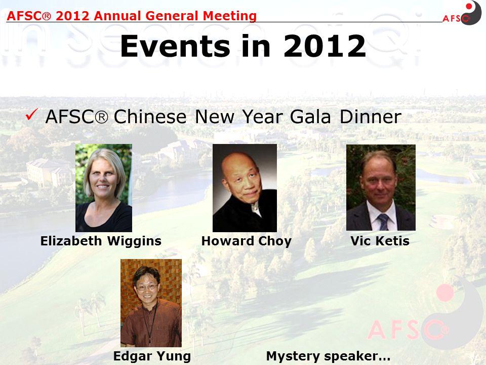 AFSC Chinese New Year Gala Dinner AFSC 2012 Annual General Meeting Events in 2012 Elizabeth WigginsHoward Choy Mystery speaker… Vic Ketis Edgar Yung