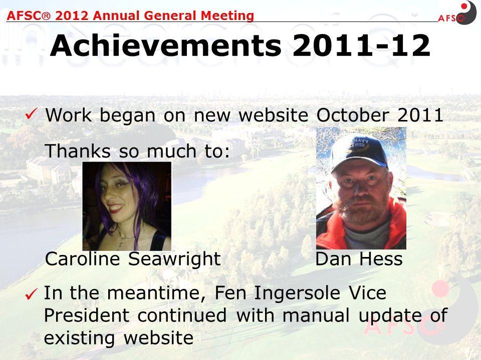 Changed Platinum, Gold and Silver Members: AFSC 2012 Annual General Meeting Achievements 2011-12