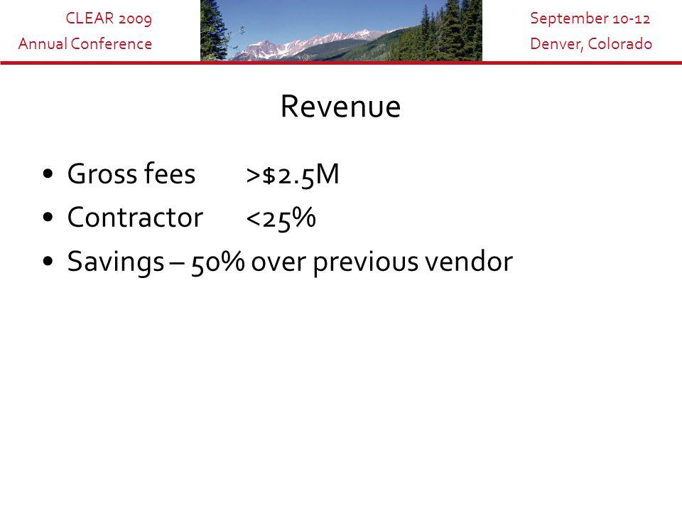 CLEAR 2009 Annual Conference September 10-12 Denver, Colorado Revenue Gross fees>$2.5M Contractor<25% Savings – 50% over previous vendor