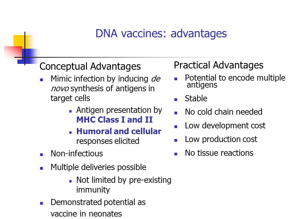 DNA vaccines: advantages Conceptual Advantages Mimic infection by inducing de novo synthesis of antigens in target cells Antigen presentation by MHC Class I and II Humoral and cellular responses elicited Non-infectious Multiple deliveries possible Not limited by pre-existing immunity Demonstrated potential as vaccine in neonates Practical Advantages Potential to encode multiple antigens Stable No cold chain needed Low development cost Low production cost No tissue reactions