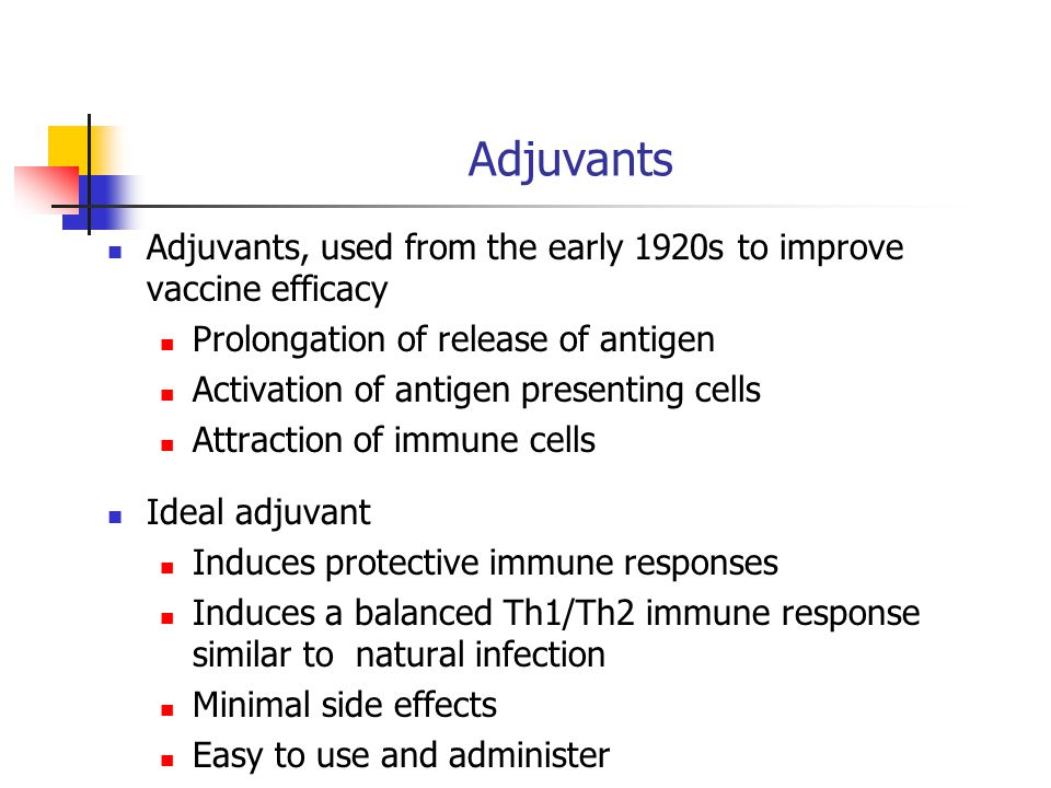 Adjuvants Adjuvants, used from the early 1920s to improve vaccine efficacy Prolongation of release of antigen Activation of antigen presenting cells Attraction of immune cells Ideal adjuvant Induces protective immune responses Induces a balanced Th1/Th2 immune response similar to natural infection Minimal side effects Easy to use and administer