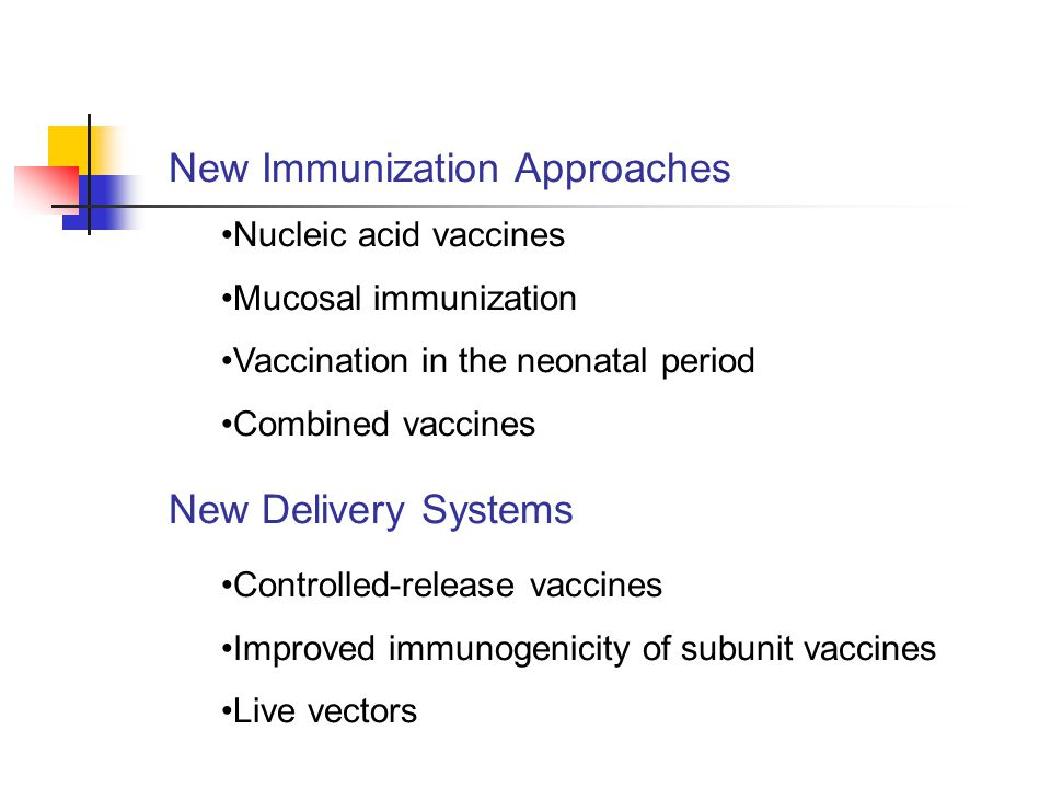 New Immunization Approaches Nucleic acid vaccines Mucosal immunization Vaccination in the neonatal period Combined vaccines New Delivery Systems Controlled-release vaccines Improved immunogenicity of subunit vaccines Live vectors
