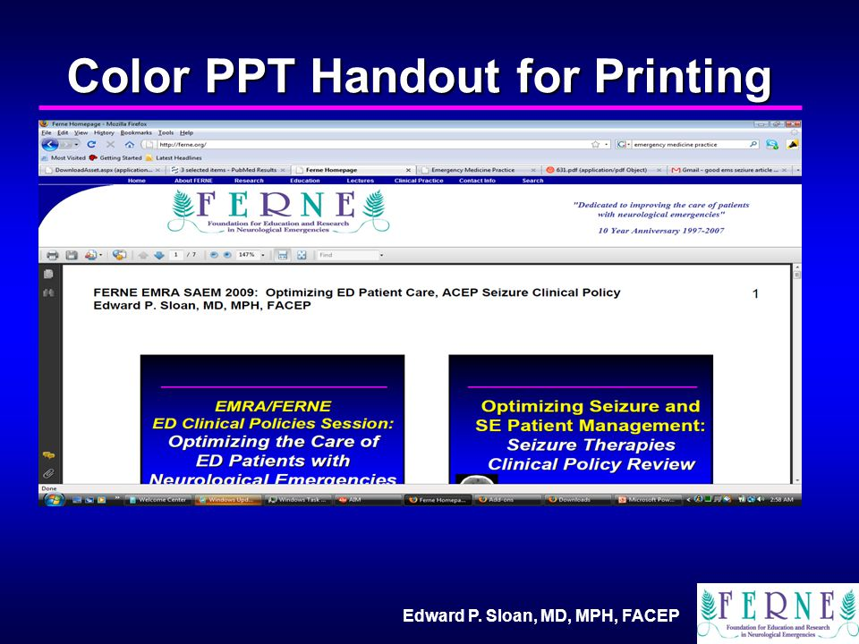 Edward P. Sloan, MD, MPH, FACEP Color PPT Handout for Printing