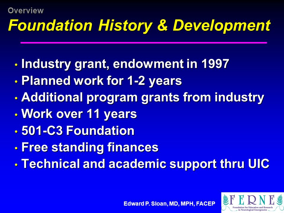 Overview Foundation History & Development Industry grant, endowment in 1997 Industry grant, endowment in 1997 Planned work for 1-2 years Planned work for 1-2 years Additional program grants from industry Additional program grants from industry Work over 11 years Work over 11 years 501-C3 Foundation 501-C3 Foundation Free standing finances Free standing finances Technical and academic support thru UIC Technical and academic support thru UIC