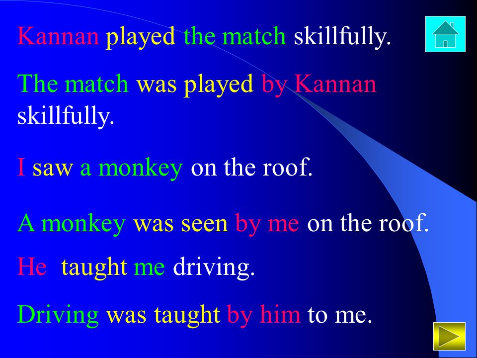 Kannan played the match skillfully. The match was played by Kannan skillfully. I saw a monkey on the roof. A monkey was seen by me on the roof. He tau
