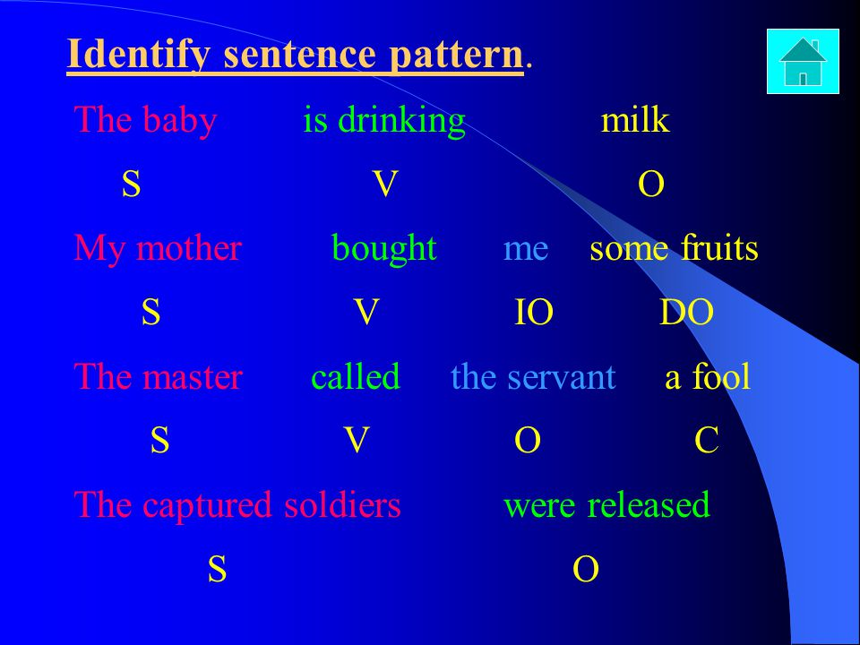 Identify sentence pattern. The baby is drinking milk S V O My motherboughtmesome fruits S V IO DO The master called the servant a fool S V O C The cap